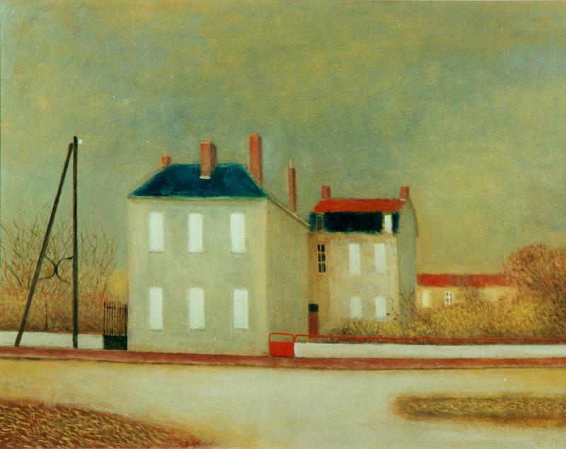 (G 111 - nummer onbekend)     Deux Maisons  -  Hilmar Schäfer  Gesigneerd 1993