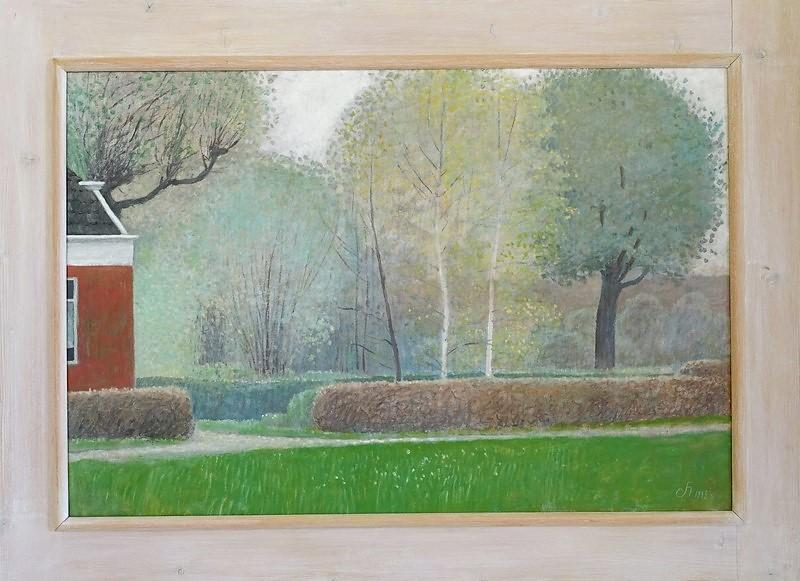 Schiilderij van Hilmar Schäfer 809 Tuin met twee berkebomen in Groningen