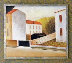Schilderij van Hilmar Schäfer 441 Sortie, van een verlaten straat in Frankrijk