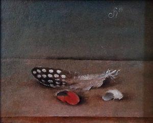Schilderij van Hilmar Schäfer uit 1984 in olieverf van een Parelhoenveertje