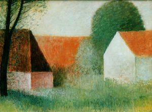 Tekening van Hilmar Schäfer van 3 huizen in een tuin.