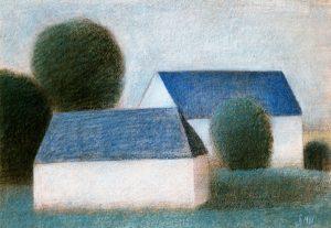 Afbeelding van tekening van Hilmar Schäfer in kleurpotlood van 2 huizen in wit en blauw uit 1986