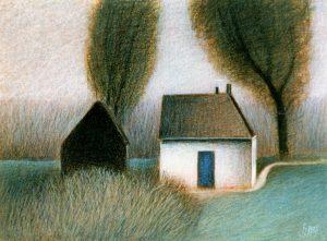 Schilderij 715 Dijkhuisje van Hilmar Schäfer uit 1986 in kleurpotlood