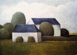 Schilderij van Hilmar Schäfer uit 1982 van twee huizen