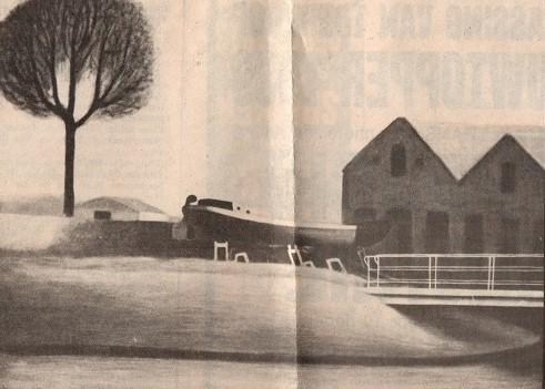 Foto van krantentenartikel uit 1988 van schilderij Museumwerf Wolthuis, toen het oude Winschoterdiep nog niet gedempt was - Hilmar Schäfer