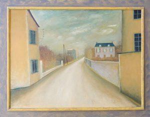 Schilderij van Hilmar Schäfer 228 La Route in Frankrijk van olieverf op masonite met houten lijst