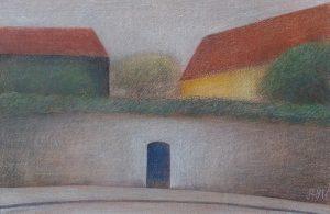 Schilderij van Hilmar Schäfer 714 Gele huis, in kleurpotlood uit 1986