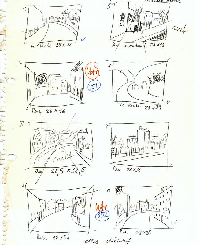 Mini schetjes van schilderijtjes vol aantekeningen, om te weten waar welk werk hing.