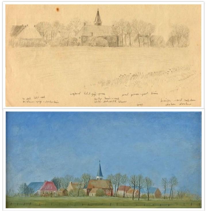 Schets van schilderij 48 Kerkje Annerveenschekanaal getekend door Hilmar Schäfer