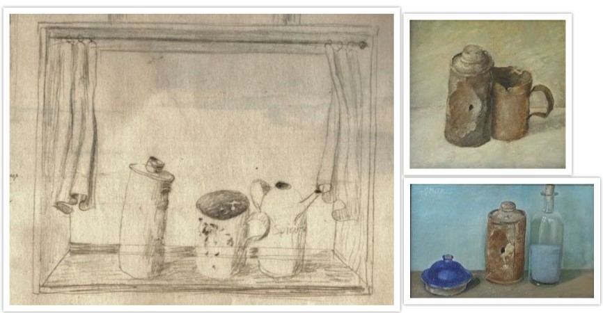 Schets van stilleven met roestig blik naar schilderijen 502 en 3089 getekend door Hilmar Schäfer