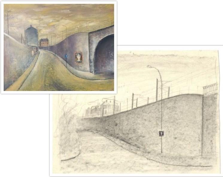 Schets van het werk 845 Rue, Straat getekend door Hilmar Schäfer