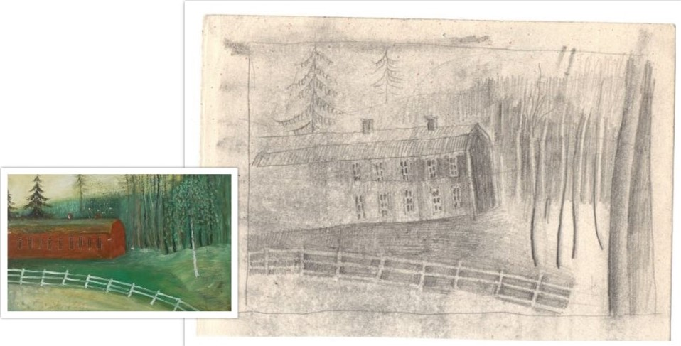 Schets van het werk 9 Landschap met veldweg getekend door Hilmar Schäfer