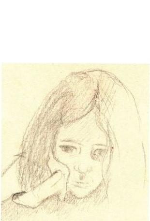 Tekening met potlood van Hilmar Schäfer van meisje.