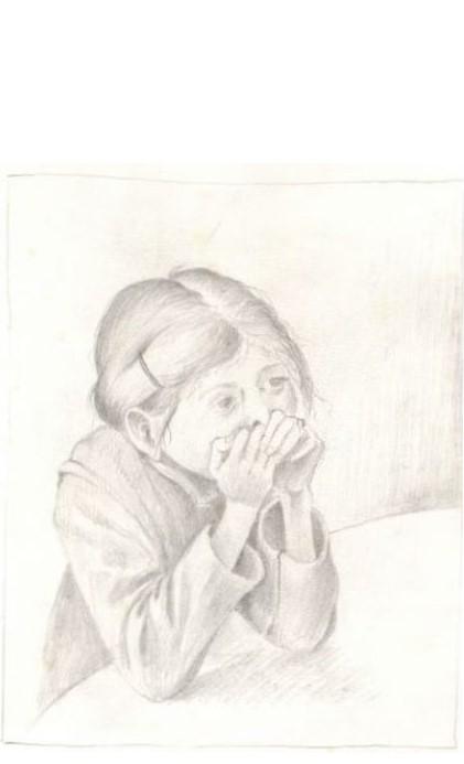 Tekening met potlood van Hilmar Schäfer van een zittend meisje