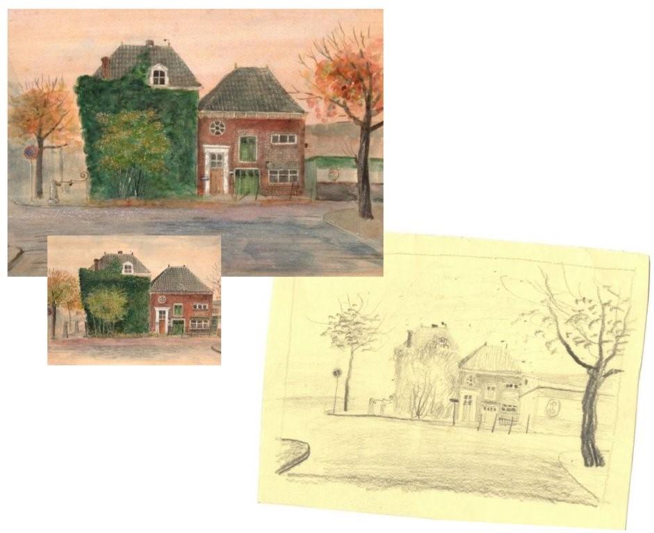 Schetsen van twee vergelijkbare werken 1011 en 1081 Klimop getekend door Hilmar Schäfer