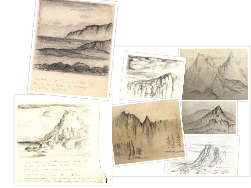 Schetsen van allerlei rotspartijen getekend door Hilmar Schäfer