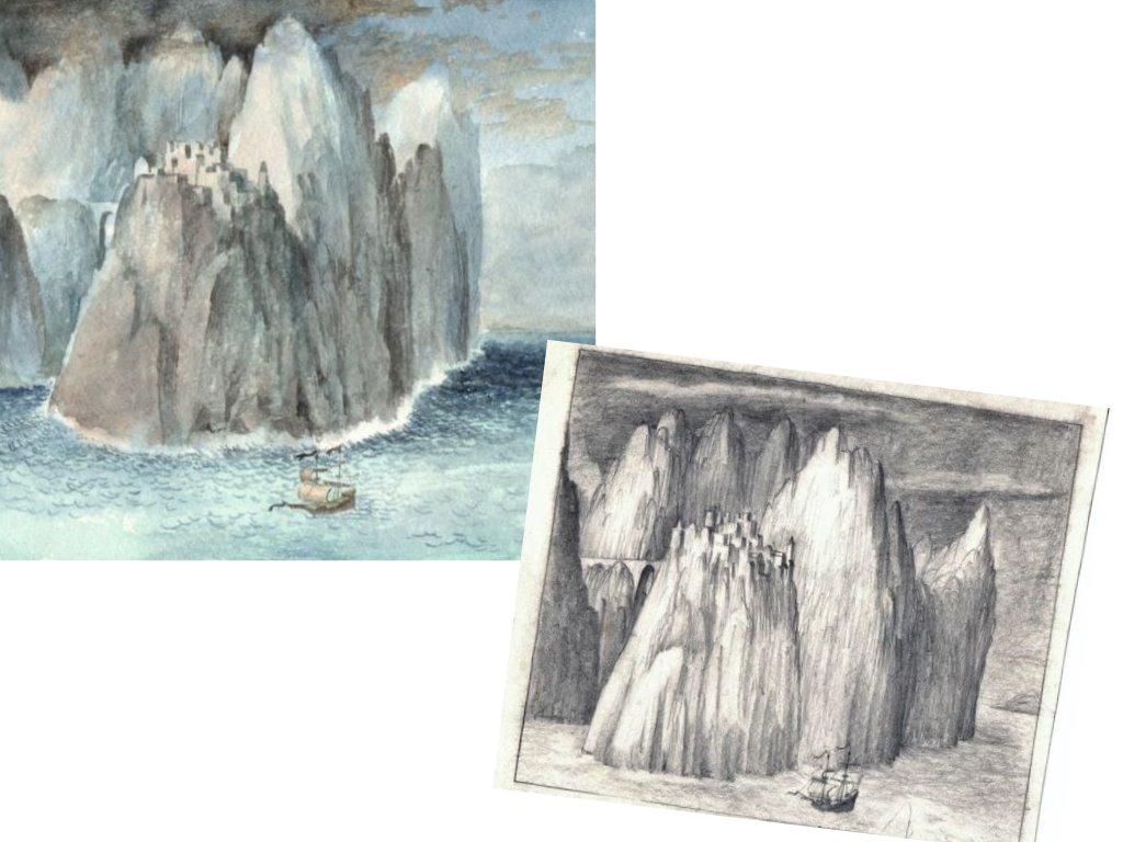 Schets van Spielerei 51 Bergen in Zee van Hilmar Schäfer