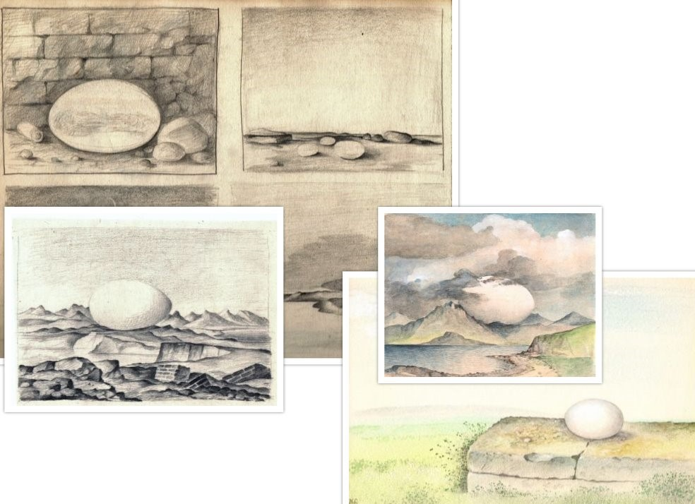 Schets met eieren getekend door Hilmar Schäfer
