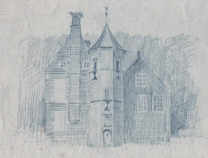 Schets van een kasteeltje getekend door Hilmar Schäfer