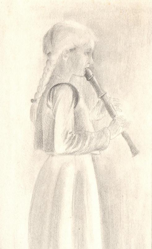 Tekening met potlood van Hilmar Schäfer van één van zijn dochters dat blokfluit speelt.