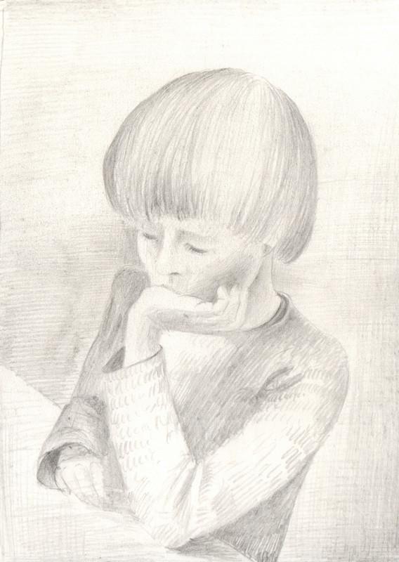 Tekening met potlood van Hilmar Schäfer van jongetje.