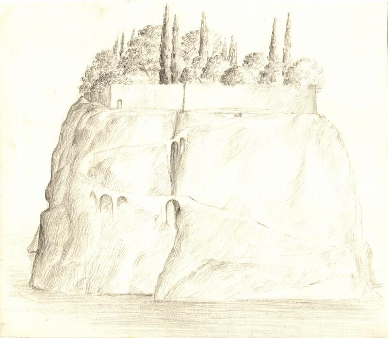 Schets van een eiland als berg in een zee waarvan de top bebouwd getekend door Hilmar Schäfer