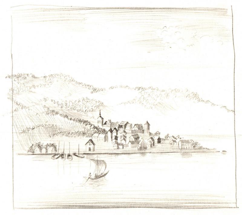 Schets van dorp in de bergen aan zee van Hilmar Schäfer