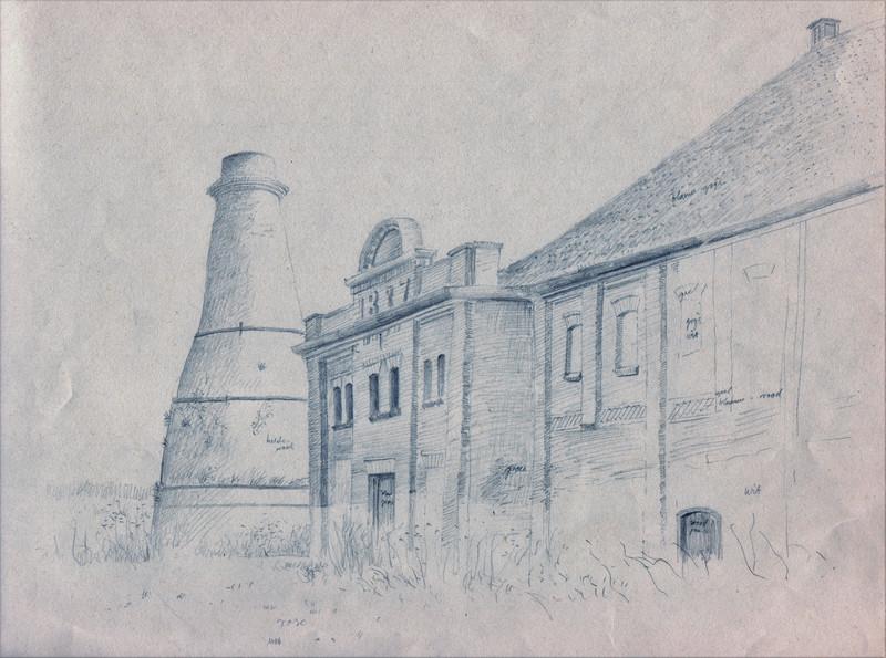 Schets met fabrieksschuren getekend door Hilmar Schäfer