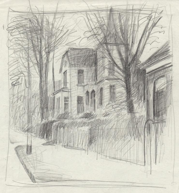 Schets van een groot huis met torentje getekend door Hilmar Schäfer