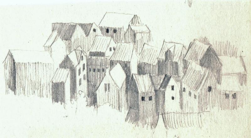 Schets van een klein dorp vol huisjes getekend door Hilmar Schäfer