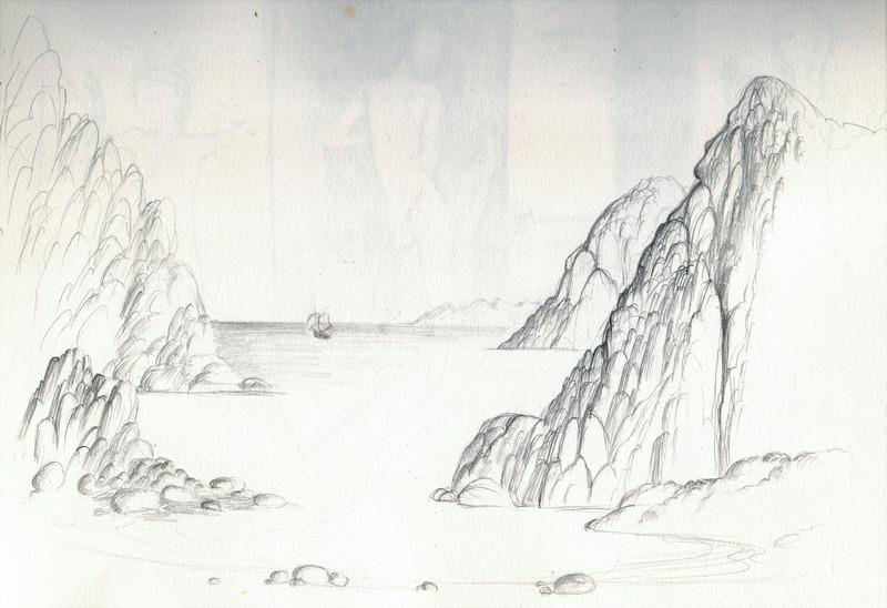 Schets van de zee tussen de bergen getekend door Hilmar Schäfer