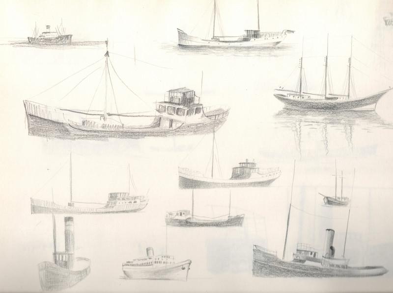 Een schets van verschillende boten getekend door Hilmar Schäfer