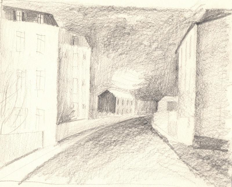 Schets getekend door Hilmar Schäfer van een straat met huizen in Frankrijk.