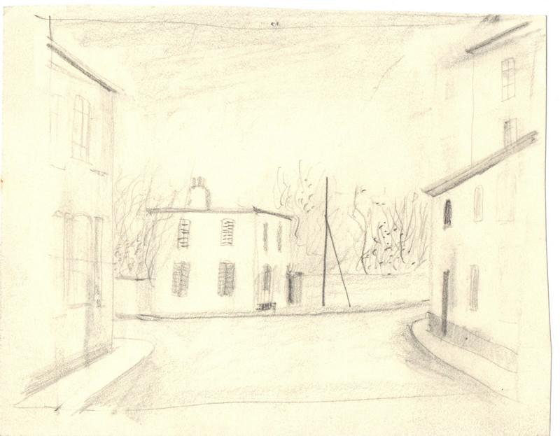 Schets van een straat met huizen in Frankrijk getekend door Hilmar Schäfer