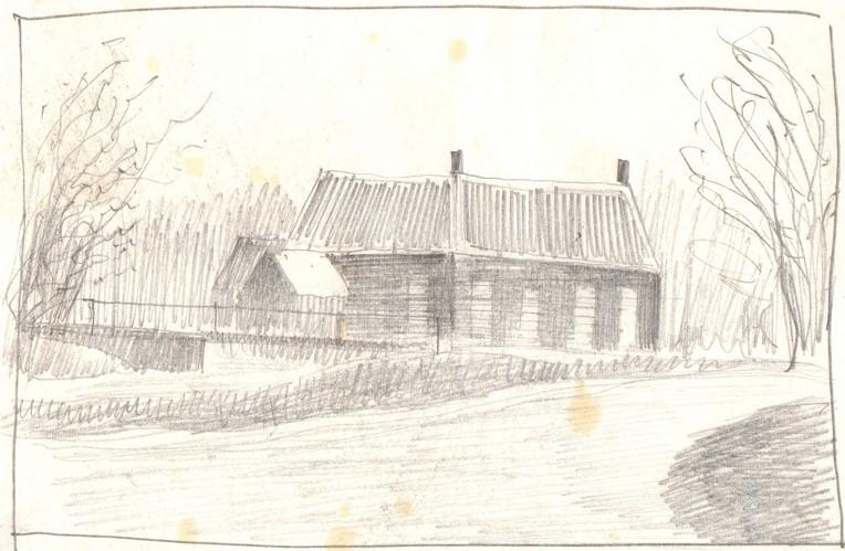 Schets van een zwarte schuur getekend door Hilmar Schäfer