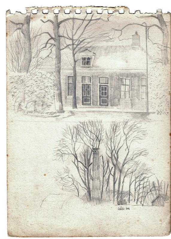 Schets van een huis met bomen ervoor getekend door Hilmar Schäfer