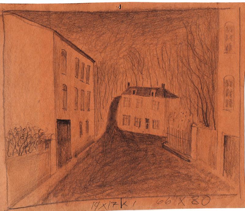 Schets van Hilmar Schäfer van een straat met huizen in Frankrijk getekend.