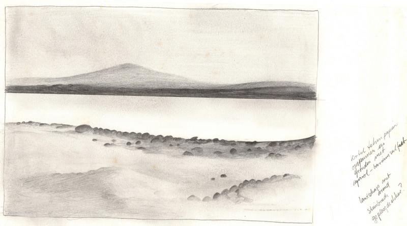 Schets van een landschap met water en bergen getekend door Hilmar Schäfer