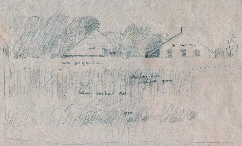 Schets van boerderij in het weiland, Hilmar Schäfer