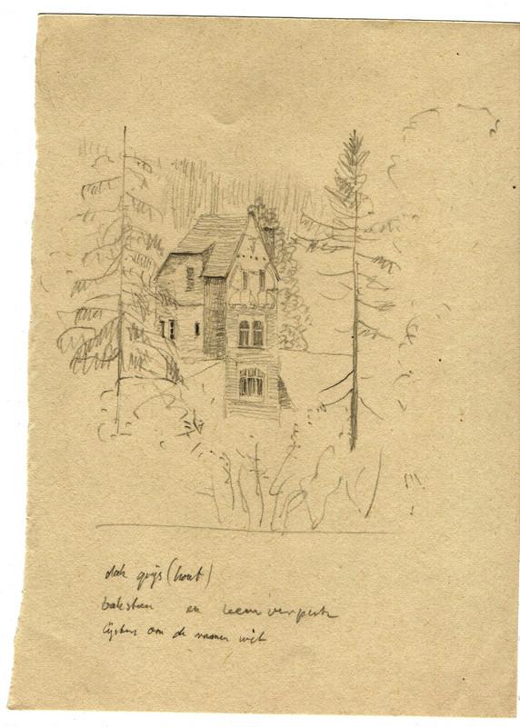Schets van een grote vrijstaande villa getekend door Hilmar Schäfer