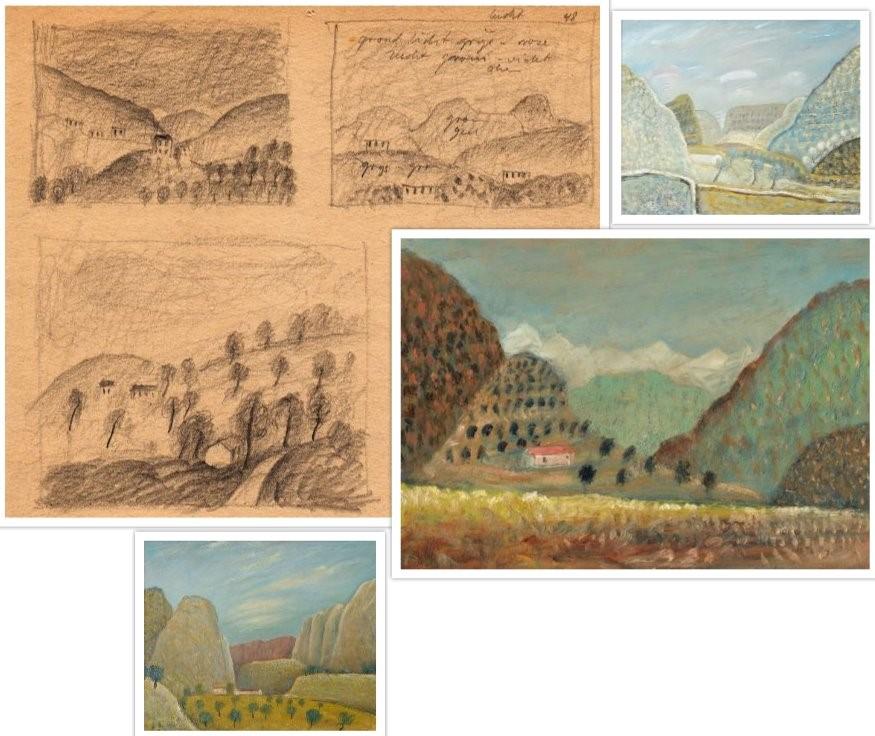 Schetsen van de werken 2001 en 2058 Berg en 1024 Landschap van Hilmar Schäfer