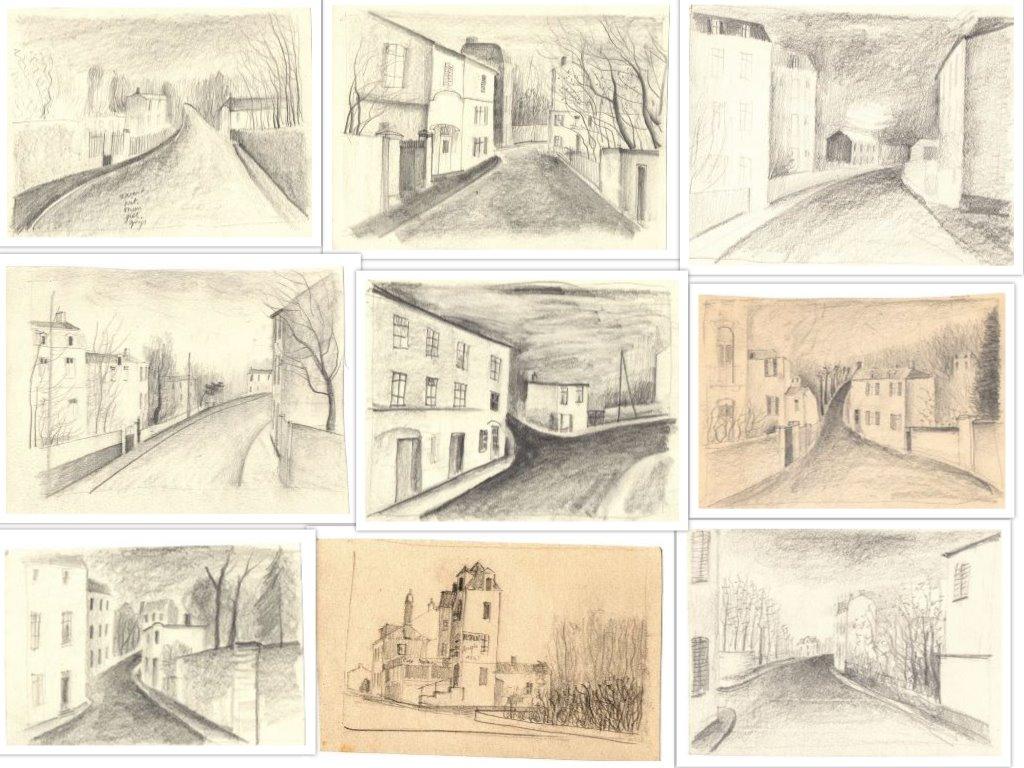 Door Hilmar Schäfer getekend, bestaande uit kleine schetsjes van straten met huizen in Frankrijk