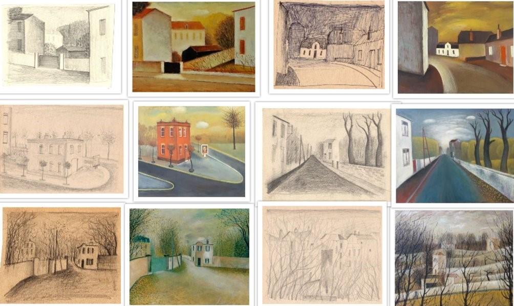 Diverse schetsen van straatgezichten in Frankrijk van Hilmar Schäfer