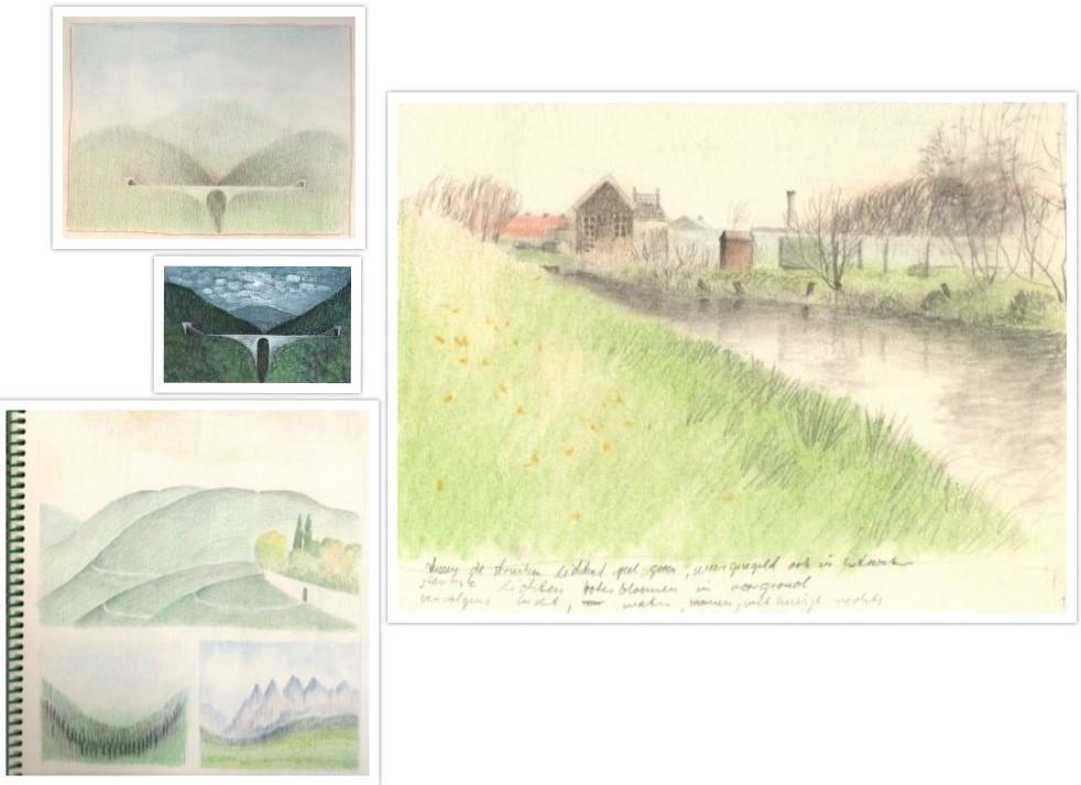 Kleuren schetsen van Landschappen getekend door Hilmar Schäfer