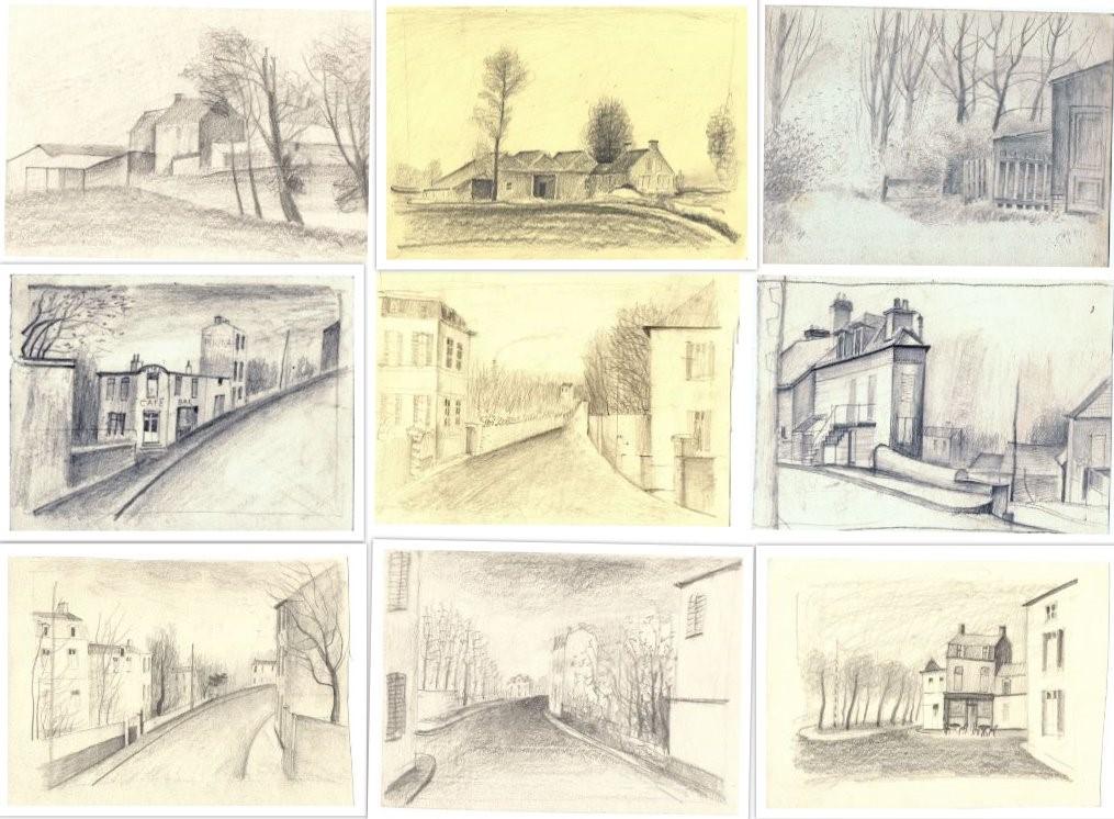 Verschillende kleine schetsen van schuren en huizen getekend door Hilmar Schäfer .