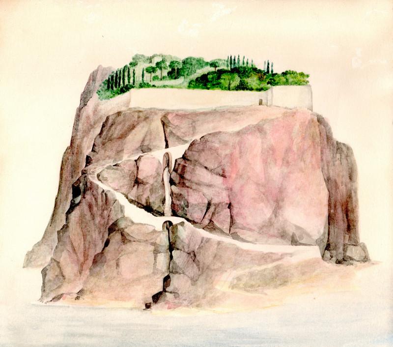 Spielerei Eiland, een hoge berg in de zee waarvan de top bebouwd gemaakt door Hilmar Schäfer
