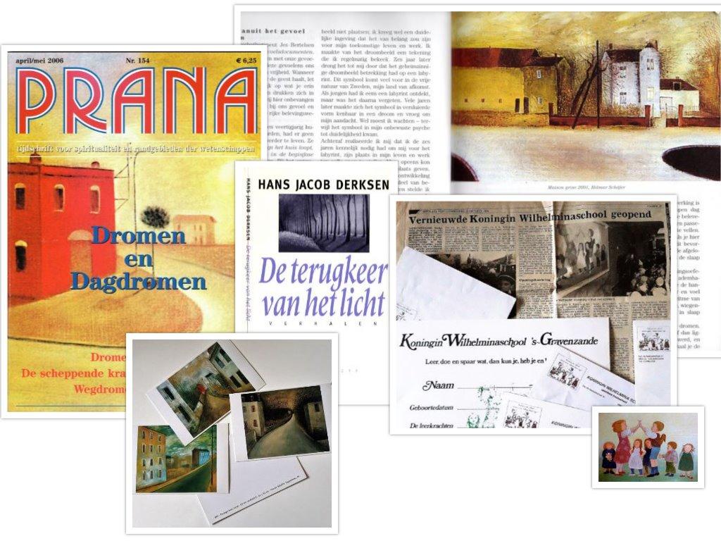 albeeldingen van schilderijen van Hilmar Schäfer op tijdschriften, boeken en kaarten