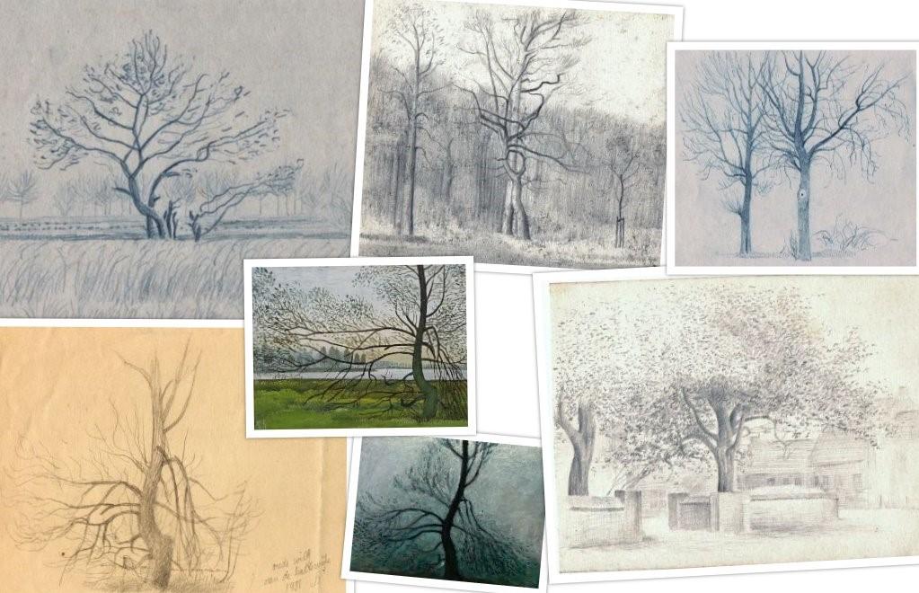 Schetsen van de werken 3007 Oude Wilgenboom en 3029 Oude Wilg van Hilmar Schäfer