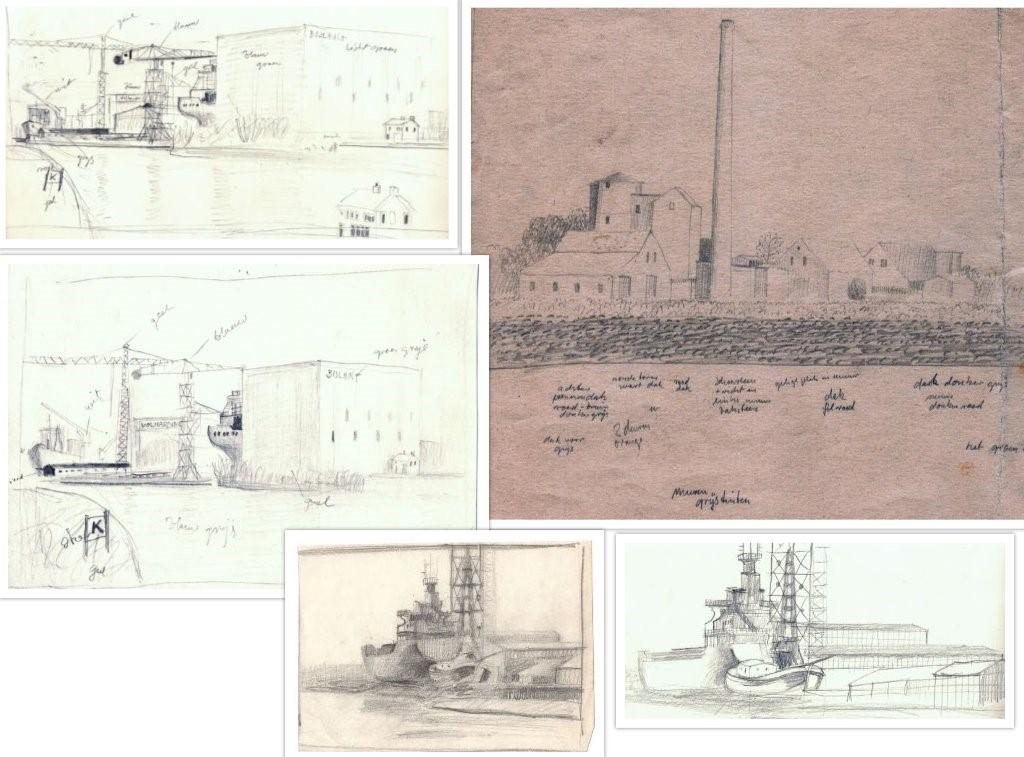 Schets van havens en boten in Nederland, door Hilmar Schäfer getekend.