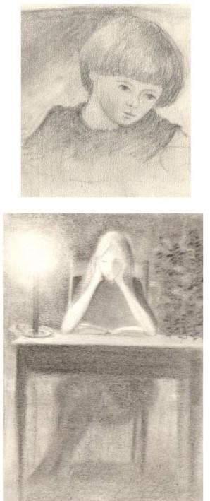 Tekening met potlood van Hilmar Schäfer van jongetje en een vrouw aan tafel.